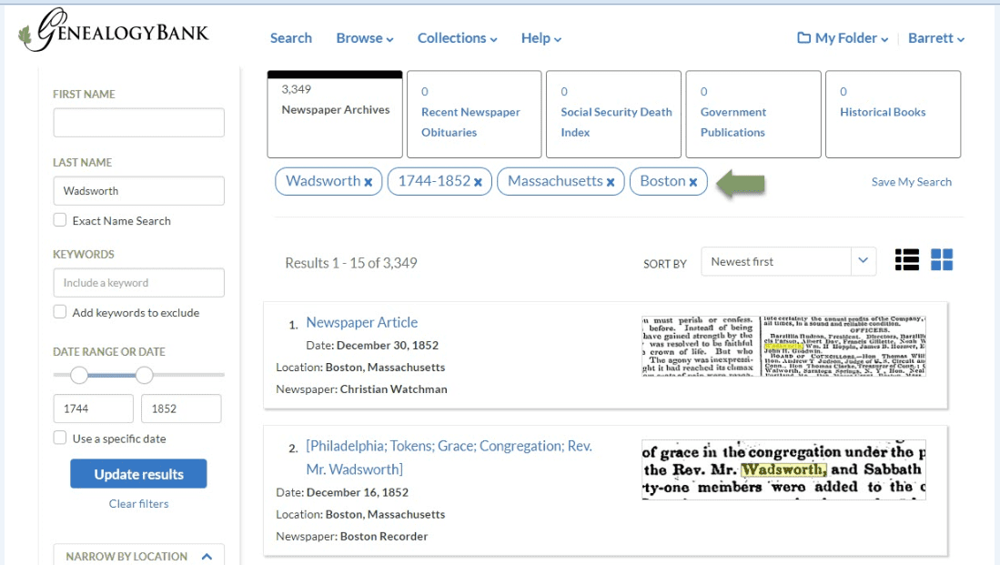 A screenshot of GenealogyBank's Search Results page showing new features