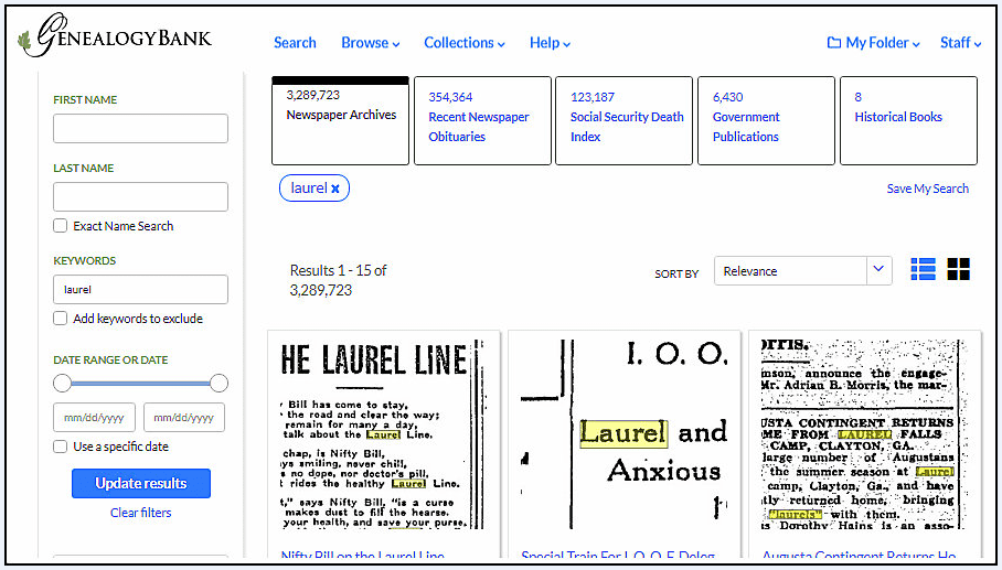 "A screenshot of GenealogyBank's search results page showing the results of a search for ""Laurel"""