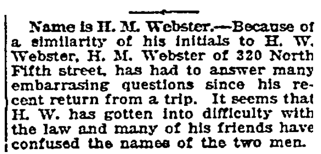 An article about H. M. Webster, Grand Forks Daily Herald newspaper article 4 June 1918