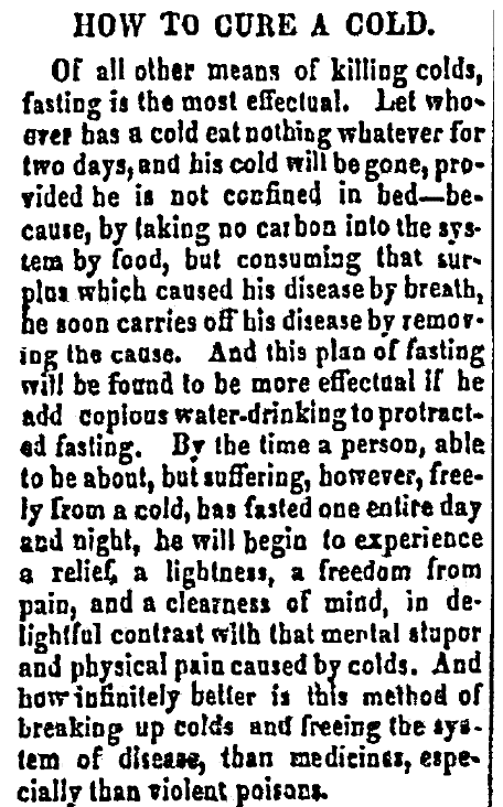 An article about a cure for the common cold, Harford Gazette and General Advertiser newspaper article 17 May 1850