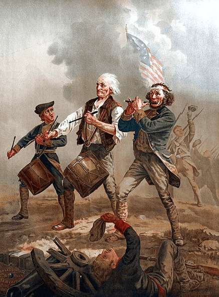 "Illustration: originally entitled ""Yankee Doodle,"" this is one of several versions of a scene painted by Archibald MacNeal Willard in the late nineteenth century that came to be known as ""The Spirit of '76"""