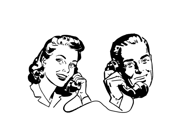 Illustration: two people having a phone conversation