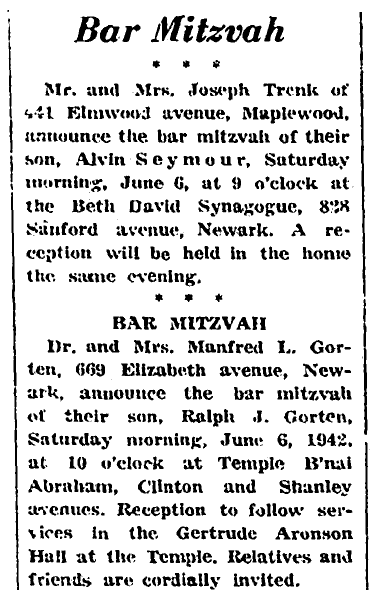 Bar mitzvah notices, Jewish Chronicle newspaper article 5 June 1942
