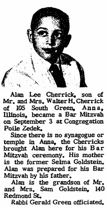 A bar mitzvah notice, Jewish Journal newspaper article 21 September 1960
