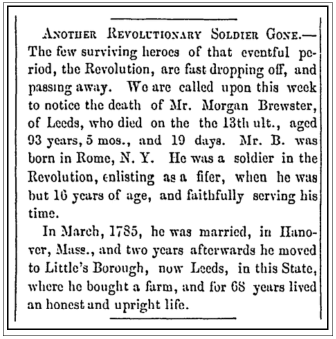 An obituary for Morgan Brewster, Maine Farmer newspaper article 13 March 1856