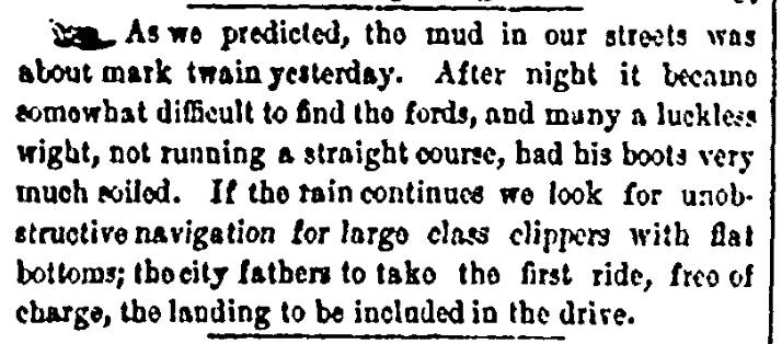 "An article about measuring mud using the phrase ""mark twain,"" Memphis Daily Eagle and Enquirer newspaper article 26 January 1854"