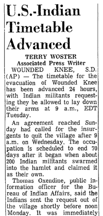 An article about the occupation of Wounded Knee, South Dakota, Mobile Register newspaper article 8 May 1973