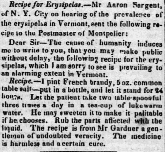 An article about a cure for erysipelas, New-Hampshire Gazette newspaper article 11 April 1843