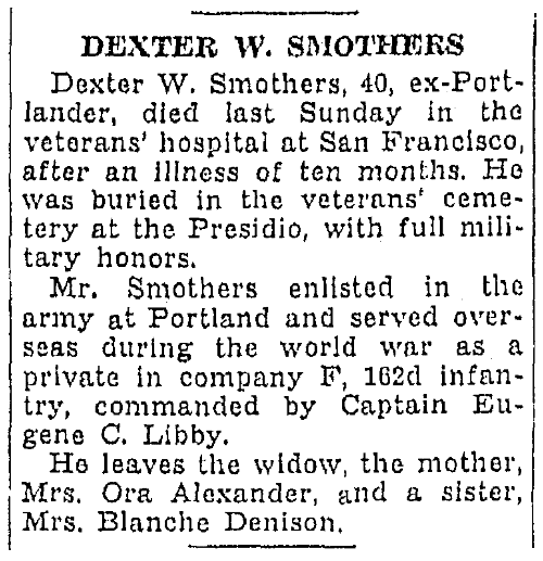 An obituary for Dexter Smothers, Oregonian newspaper article 24 October 1937