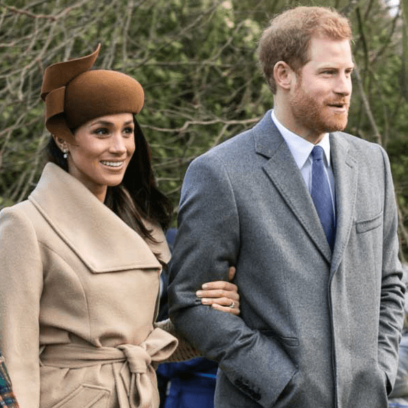 Photo: Prince Harry and Meghan Markle going to church at Sandringham, England, on Christmas Day 2017