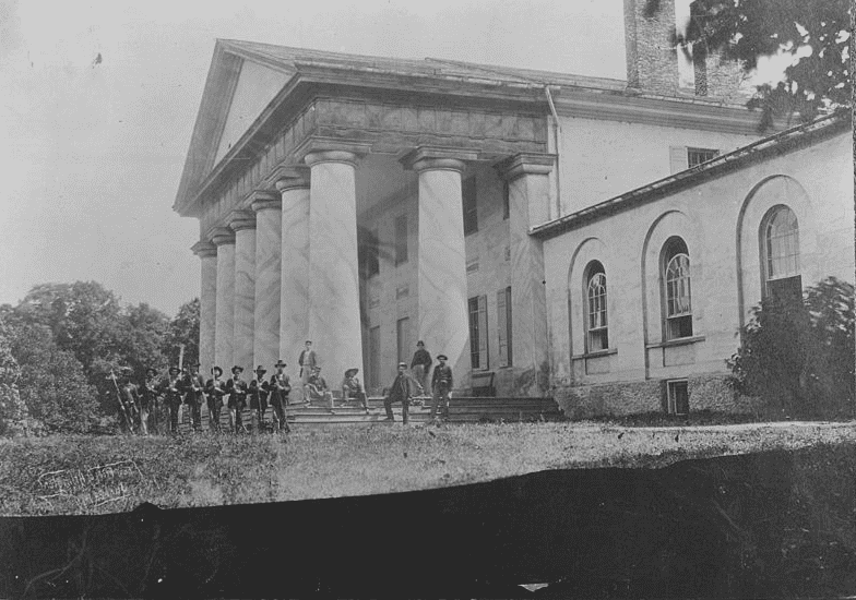 "Photo: ""East front of Arlington Mansion (General Lee's home), with Union soldiers on the lawn,"" 28 June 1864"