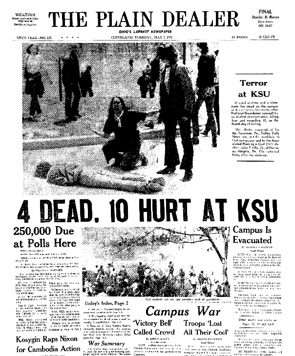 Front page coverage of the Kent State Shootings, Plain Dealer newspaper articles 5 May 1970