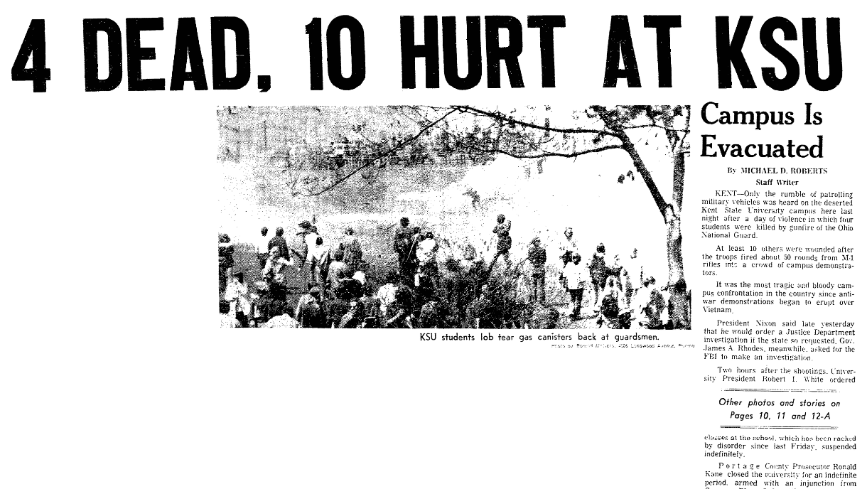 An article about the Kent State Shootings, Plain Dealer newspaper article 5 May 1970