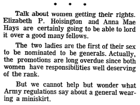 An article about the first two women generals in U.S. Army history, Plain Dealer newspaper article 19 May 1970