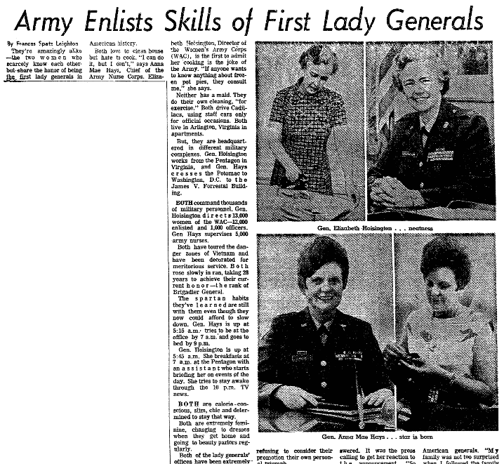 An article about the first two women generals in U.S. Army history, Plain Dealer newspaper article 5 July 1970