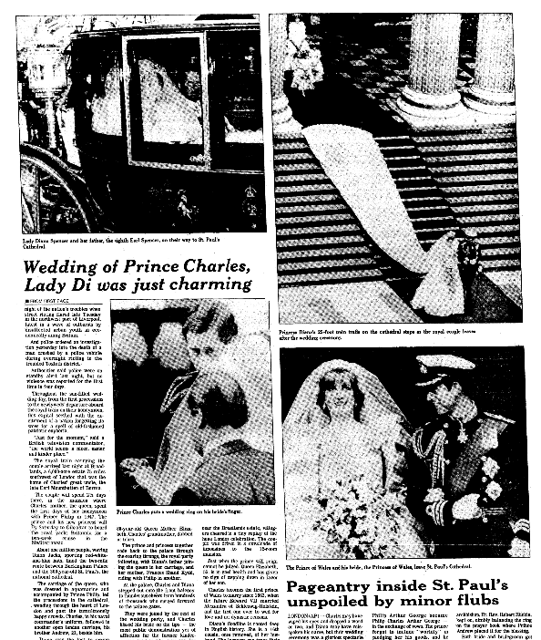 An article about the wedding of Prince Charles and Lady Diana, Plain Dealer newspaper article 30 July 1981