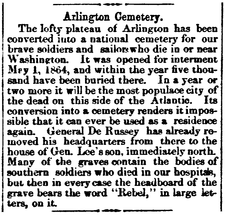 An article about Arlington National Cemetery, Raftsman's Journal newspaper article 14 June 1865