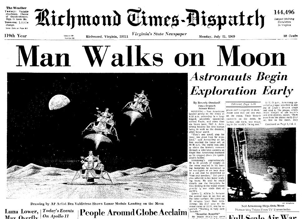 Front page news, Richmond Times Dispatch newspaper 21 July 1969