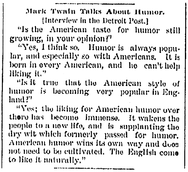 An article about Mark Twain, Saginaw News newspaper article 2 February 1885