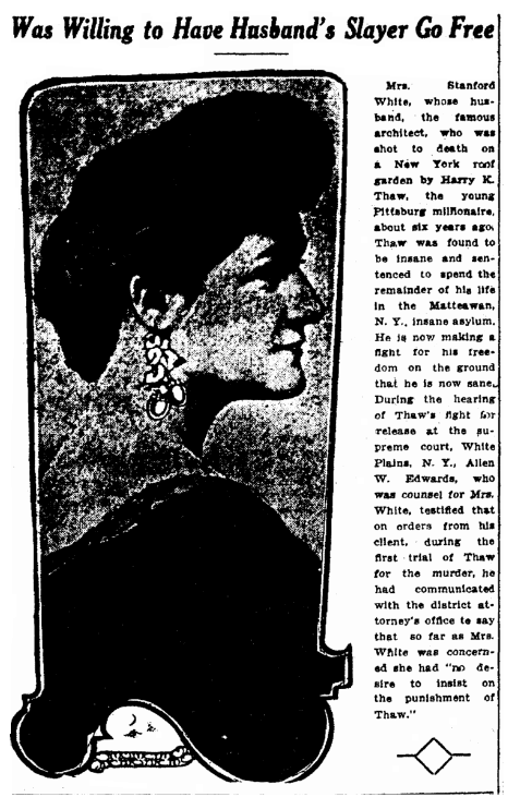 An article about the family of Stanford White, Salt Lake Telegram newspaper article 19 July 1912