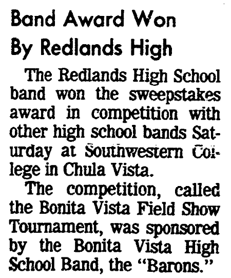 An article about the Redlands High School band, San Diego Union newspaper article 15 November 1977