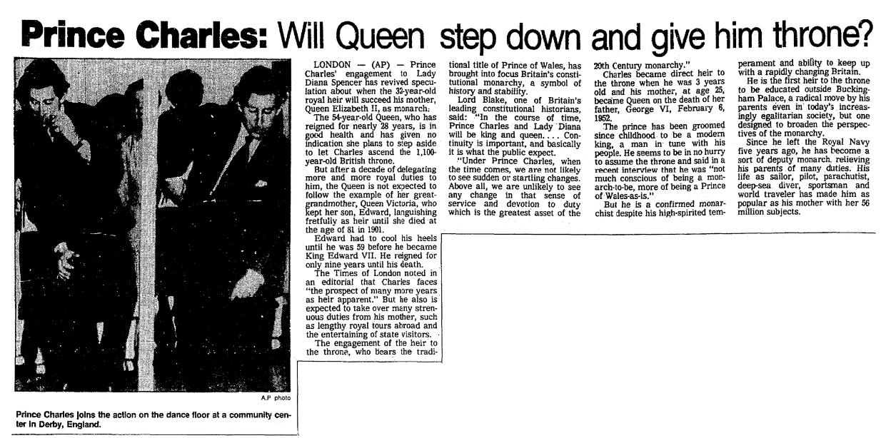 An article about Prince Charles, Seattle Daily Times newspaper article 1 March 1981