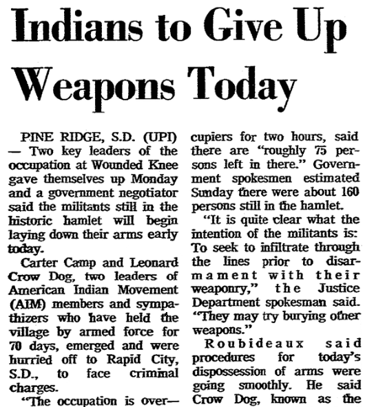 An article about the occupation of Wounded Knee, South Dakota, Springfield Union newspaper article 8 May 1973
