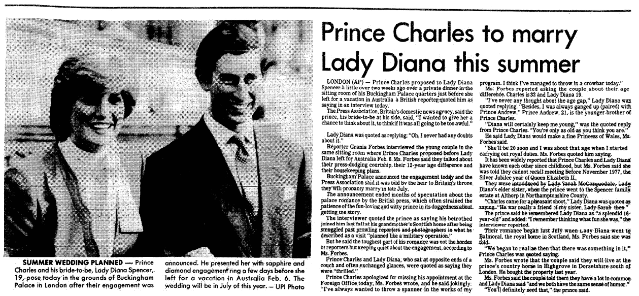 An article about the engagement of Prince Charles and Lady Diana, State Times Advocate newspaper article 24 February 1981