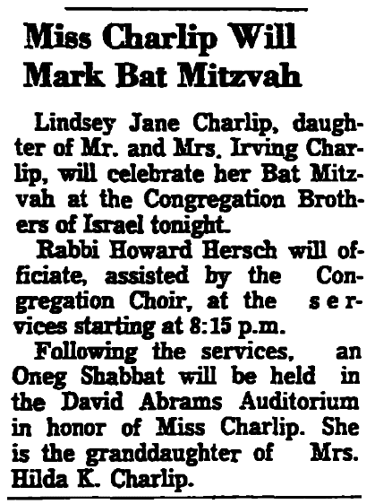 A bat mitzvah notice, Trenton Evening Times newspaper article 10 January 1964