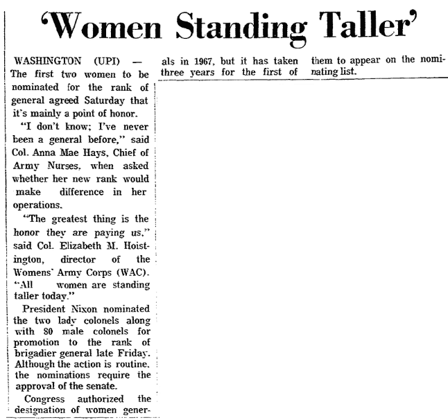 An article about the first two women generals in U.S. Army history, Trenton Evening Times newspaper article 17 May 1970