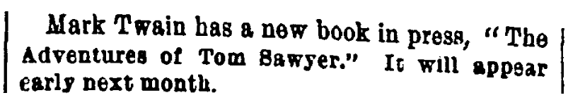 An article about Mark Twain, World newspaper article 29 March 1876