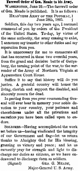 An article about General Meade and the Army of the Potomac, Albany Evening Journal newspaper article 29 June 1865