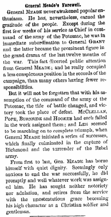 An article about General Meade and the Army of the Potomac, Albany Evening Journal newspaper article 1 July 1865