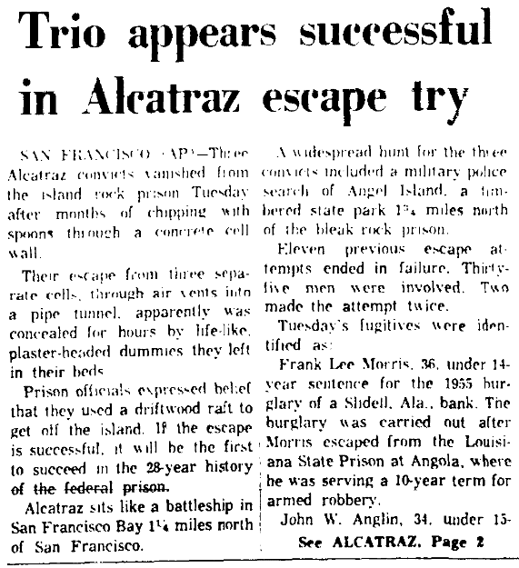 An article about an attempted escape from Alcatraz federal prison, Augusta Chronicle newspaper article 13 June 1962