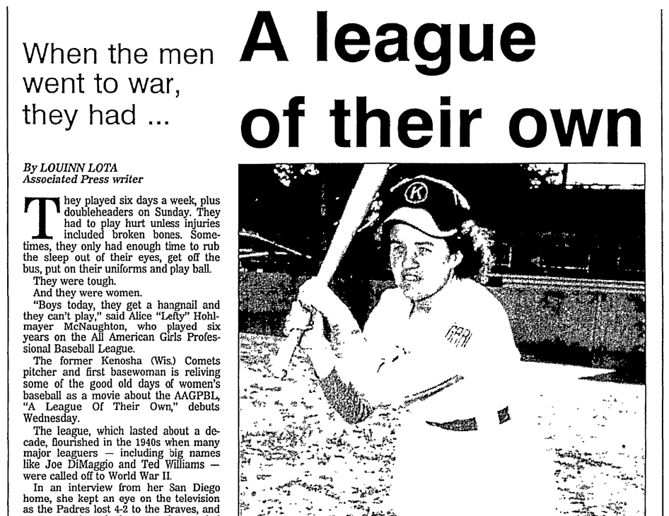 An article about women's professional baseball, Bellingham Herald newspaper article 26 June 1992