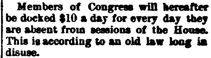 An article about a law for fining absent congressional Representatives, Belmont Chronicle, and Farmers, Mechanics and Manufacturers Advocate newspaper article 26 April 1894