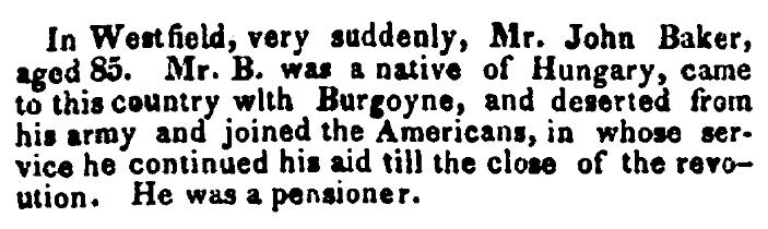 An obituary for John Baker, Boston Traveler newspaper article 30 May 1826