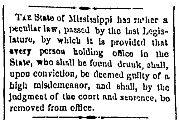 A law for drunk government officials, Canton Repository newspaper article 22 August 1873