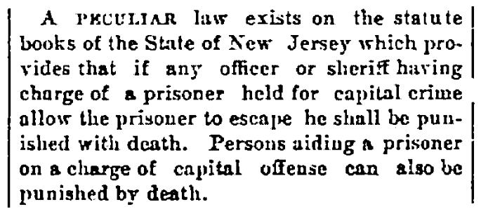 An article about an escaped prisoners law, Cleveland Leader newspaper article 19 August 1882