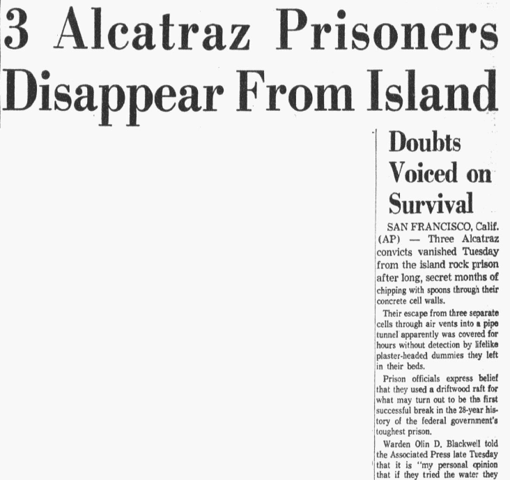 An article about an attempted escape from Alcatraz federal prison, Dallas Morning News newspaper article 13 June 1962