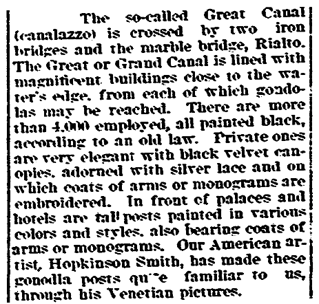 An article about a gondola law, Evening Post newspaper article 29 May 1897