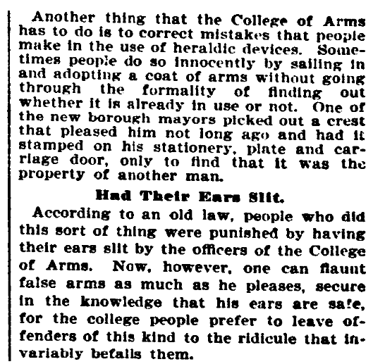 An article about a law for coats of arms, Evening Star newspaper article 5 January 1901