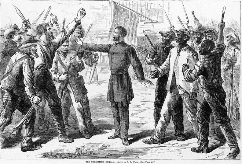 Illustration: a Freedmen's Bureau agent stands between armed groups of whites and freedmen, by Alfred Rudolph Waud, 1868