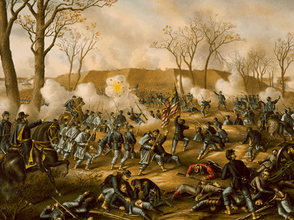 "Illustration: ""Battle of Fort Donelson,"" by Kurz & Allison. Credit: Library of Congress, Prints and Photographs Division."