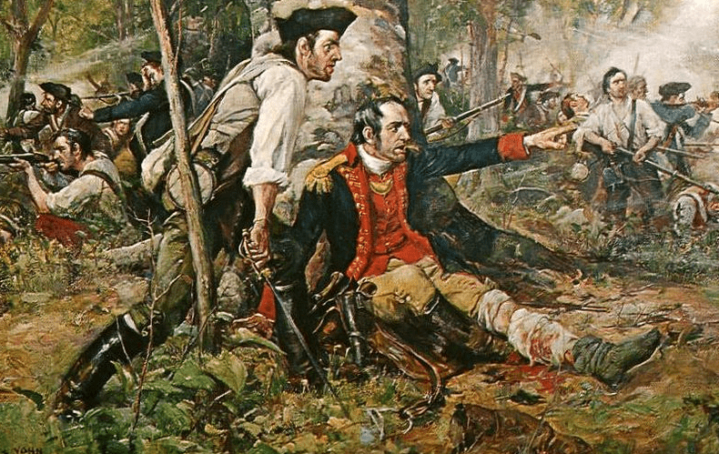 "Illustration: ""Herkimer at the Battle of Oriskany,"" by Frederick Coffay Yohn. Although wounded, General Nicholas Herkimer rallies the Tryon County militia at the Battle of Oriskany on 6 August 1777."