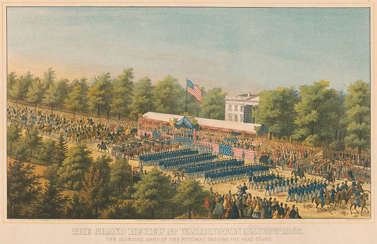"Illustration: ""The grand review at Washington, May 23th 1865. The glorious Army of the Potomac passing the head stand,"" by E. Sachse & Co., Boston, 1865"
