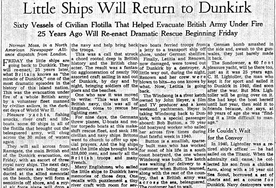 An article about the rescue of Allied troops from Dunkirk during WWII, Milwaukee Journal Sentinel newspaper article 29 May 1965