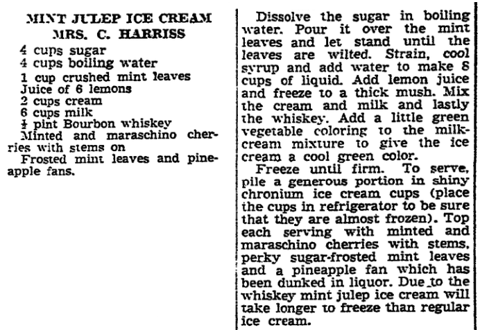 A recipe for ice cream, New Orleans States newspaper article 13 June 1940