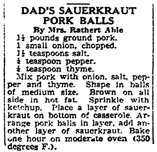 A recipe for pork balls, New Orleans States newspaper article 13 June 1940