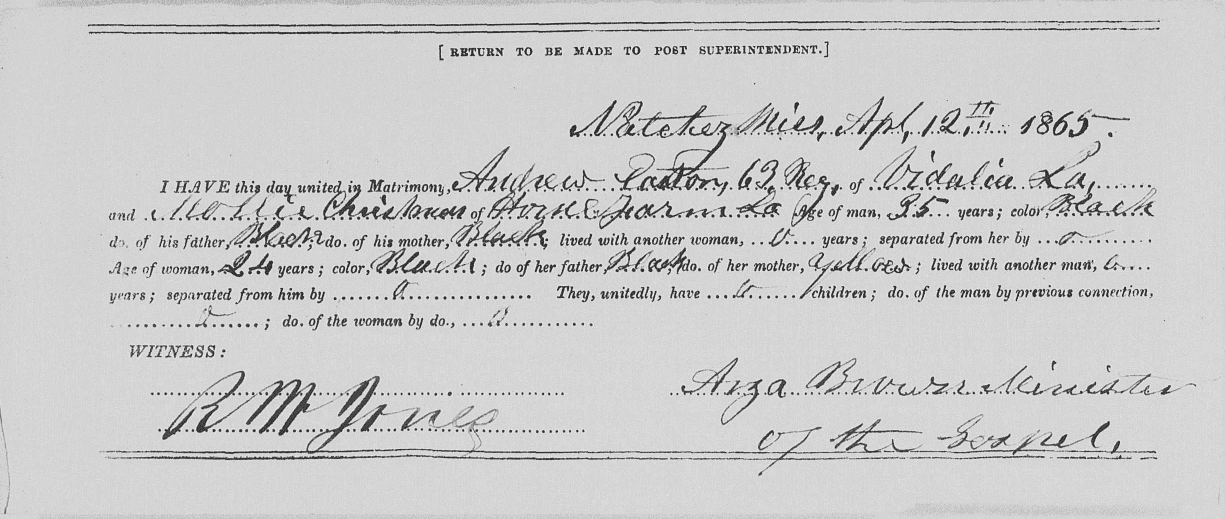 A photo of a marriage certificate from the Freedmen's Bureau